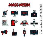 mass media flat creative... | Shutterstock . vector #617853002