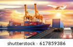 truck transport container on... | Shutterstock . vector #617859386