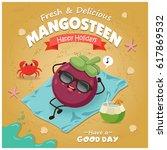 vintage fruit poster beach... | Shutterstock .eps vector #617869532