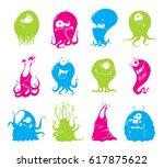 set of cartoon funny monsters | Shutterstock .eps vector #617875622