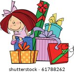 little girl sits on a huge pile ... | Shutterstock .eps vector #61788262
