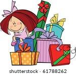 little girl sits on a huge pile ... | Shutterstock .eps vector #61788262