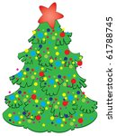 christmas tree decorated with... | Shutterstock .eps vector #61788745