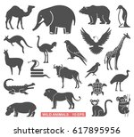 silhouettes of wild animals and ... | Shutterstock .eps vector #617895956