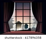 view of deep forest at sunset... | Shutterstock .eps vector #617896358