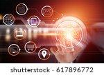 businessman using touching... | Shutterstock . vector #617896772