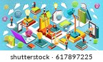 online education isometric flat ... | Shutterstock .eps vector #617897225