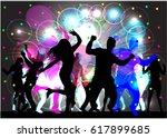 dancing people silhouettes....   Shutterstock .eps vector #617899685