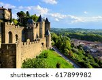ancient castle of carcassonne... | Shutterstock . vector #617899982