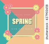 spring sale background banner...   Shutterstock .eps vector #617902658