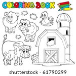 coloring book with farm animals ... | Shutterstock .eps vector #61790299