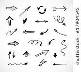 hand drawn arrows  vector set | Shutterstock .eps vector #617904542