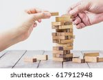 brown  wood building block... | Shutterstock . vector #617912948