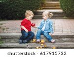 group portrait of two white... | Shutterstock . vector #617915732