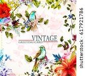 greeting floral vintage card... | Shutterstock .eps vector #617921786