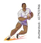 rugby player hold rugby and... | Shutterstock .eps vector #617921966