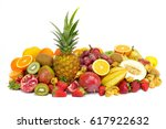 fresh tropical fruits against... | Shutterstock . vector #617922632