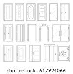 icons set of doors types.... | Shutterstock .eps vector #617924066