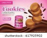 sandwich chocolate cookies... | Shutterstock .eps vector #617925902