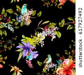 seamless floral background... | Shutterstock .eps vector #617927492