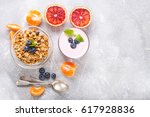 healthy breakfast   muesli ... | Shutterstock . vector #617928836