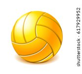 yellow water polo ball isolated ... | Shutterstock .eps vector #617929952