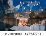 double exposure of business... | Shutterstock . vector #617937746