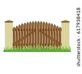 fence with brick pillars and... | Shutterstock .eps vector #617938418