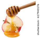 red apple with honey isolated... | Shutterstock . vector #617943176