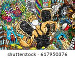 music collage on a large brick... | Shutterstock . vector #617950376