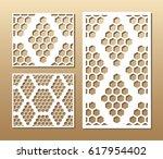 die cut card. laser cut vector... | Shutterstock .eps vector #617954402