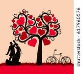bride and groom. wedding card... | Shutterstock .eps vector #617960576