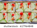 fancy vegetarian canapes cut in ... | Shutterstock . vector #617964848