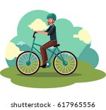 young man  guy riding urban... | Shutterstock .eps vector #617965556