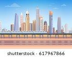 subway over city skyscraper... | Shutterstock .eps vector #617967866