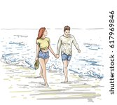 couple hold hands walking beach ... | Shutterstock .eps vector #617969846