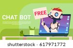 chat bot free  robot virtual... | Shutterstock .eps vector #617971772