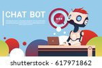 chat bot using laptop computer  ... | Shutterstock .eps vector #617971862