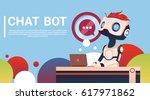 chat bot using laptop computer  ... | Shutterstock .eps vector #617971862