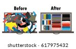 before and after tidying up... | Shutterstock .eps vector #617975432