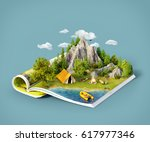 mountain in forest  green... | Shutterstock . vector #617977346