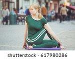 blonde pretty yoga instructor...   Shutterstock . vector #617980286