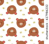 cute bear with bees. vector... | Shutterstock .eps vector #617986232