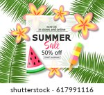 summer sale banner. exotic... | Shutterstock .eps vector #617991116
