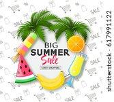 big summer sale banner. exotic... | Shutterstock .eps vector #617991122