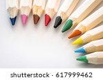 Color Pencils With Available Copy Space - stock photo