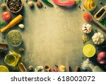 herbs and spices at stone table ... | Shutterstock . vector #618002072