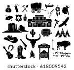 cowboy  western  wild west icon ... | Shutterstock .eps vector #618009542