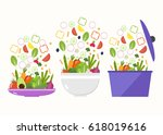 vegetable plate. vegetable bowl.... | Shutterstock .eps vector #618019616