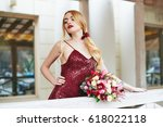 beautiful young blond woman in... | Shutterstock . vector #618022118